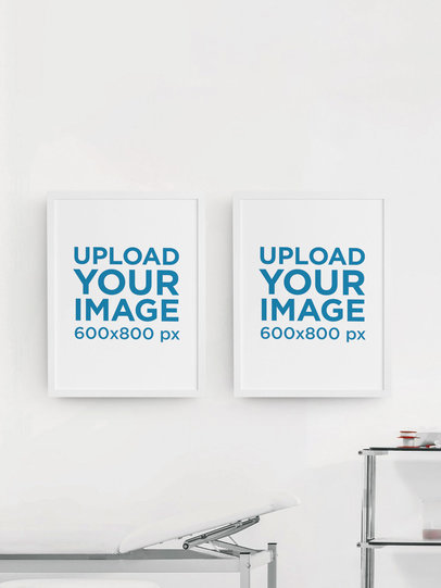 Mockup of a Two Vertical Art Prints Hanging on a Clinic's Wall m911