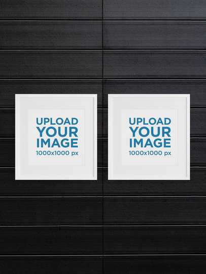Mockup of Two Square Art Prints With Minimal Frames m913