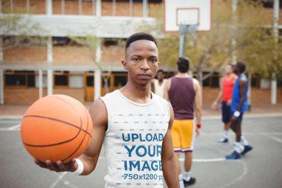 Sleeveless Shirt Mockup of a Man Playing Basketball 43918-r-el2