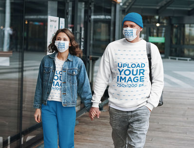 Face Mask Mockup of a Couple in Sweatshirts Holding Hands 45333-r-el2