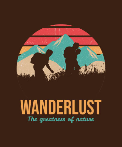 T-Shirt Design Template for Adventurers Featuring Colorful Landscapes 3229