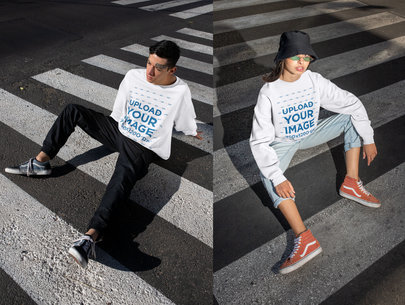 Sweatshirt Mockup of a Man and a Woman Sitting on a Crosswalk m615