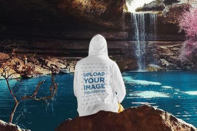 Hoodie Mockup of a Man Enjoying The View of a Waterfall 45336-r-el2
