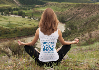 Tank Top Mockup of the Back of a Woman Meditating Over a Hill 38332-r-el2