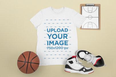Mockup of a Sports T-Shirt with Basketball Paraphernalia M669