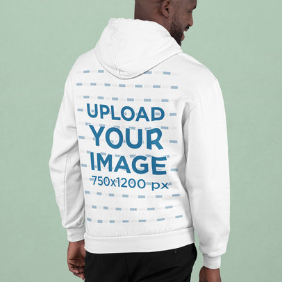 Back View Mockup of a Happy Man Wearing a Hoodie at a Studio m749