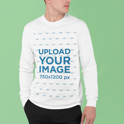 Cropped Face Mockup of a Man Wearing a Long Sleeve Tee at a Studio m831