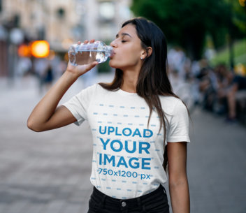 T-Shirt Mockup Featuring a Woman Drinking Water 45423-r-el2