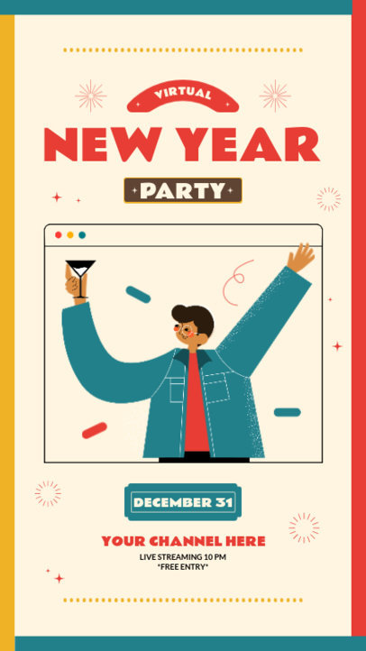 Illustrated Instagram Story Template for a Virtual New Year's Eve Party Invitation 3260-el1