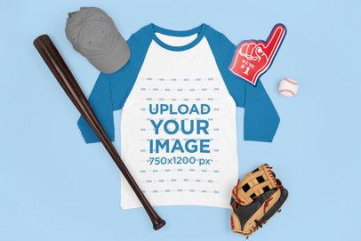 Mockup of a Raglan T-Shirt Featuring Baseball Equipment m667