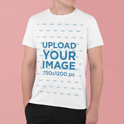 Basic T-Shirt Mockup Featuring a Young Man at a Studio m829
