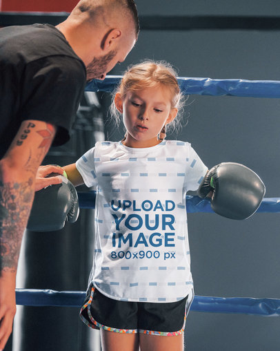 Sublimated T-Shirt Mockup of a Girl Resting During a Boxing Match 43093-r-el2