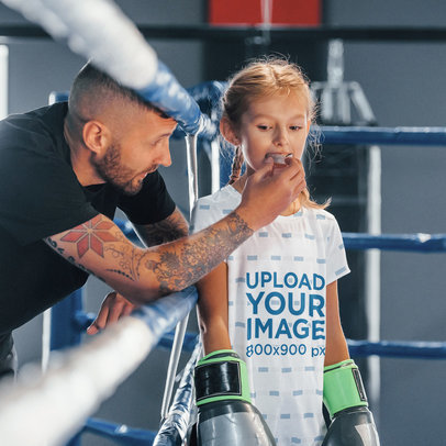 Sublimated T-Shirt Mockup Featuring a Girl in a Boxing Ring 43094-r-el2