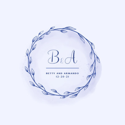 Ornamental Logo Template with Two Initials and Date 3919a