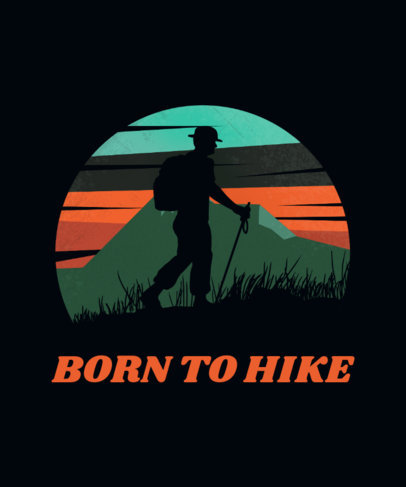 Adventure T-Shirt Design Template Featuring a Silhouette of a Hiker 3229f