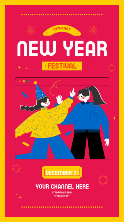 Illustrated Instagram Story Template Featuring Two Friends at a New Year's Eve Virtual Party 3260e-el1