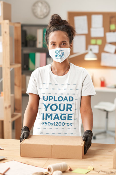 Tee Mockup Featuring a Woman With a Face Mask Holding a Package 45576-r-el2