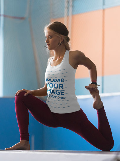 Tank Top Mockup of a Yoga Teacher Demonstrating a Pose 35913-r-el2