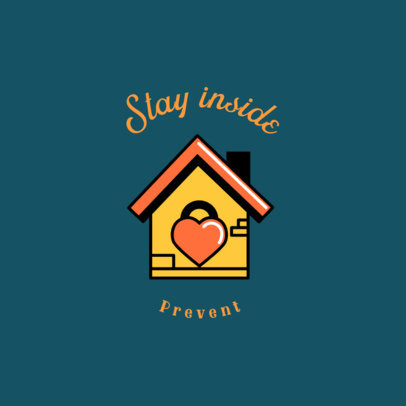 Logo Maker Featuring a Stay-At-Home Message and a House Clipart 3922d