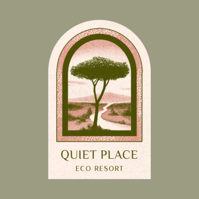 Logo Maker for an Eco-Friendly Resort Featuring a Quiet Landscape Illustration 3910i
