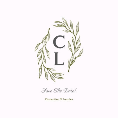 Simple Nuptial Logo Template with Beautiful Branches 3917g