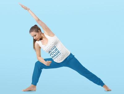 Tank Top Mockup Featuring a Pregnant Woman Doing Yoga at a Studio 35121-r-el2