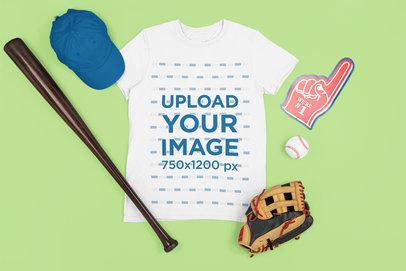 Round Neck T-Shirt Mockup Featuring Baseball Equipment m668