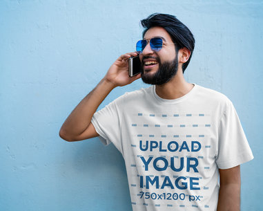 T-Shirt Mockup Featuring a Bearded Man on the Phone 45569-r-el2