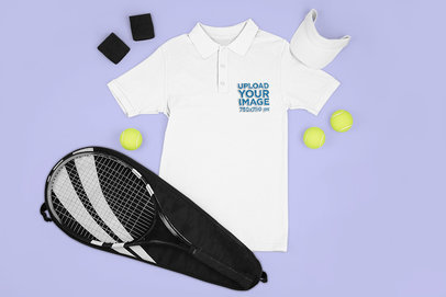 Mockup of a Polo Shirt Featuring Tennis Equipment m672