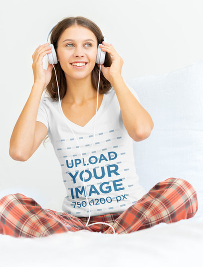 V-Neck Tee Mockup Featuring a Woman with Headphones on Her Bed 45452-r-el2
