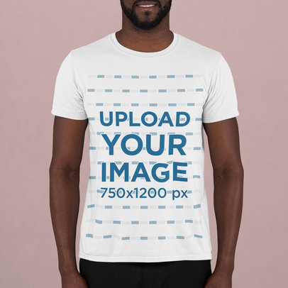 T-Shirt Mockup Featuring a Bearded Man Standing in a Studio m740
