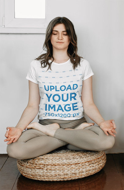 T-Shirt Mockup of a Woman Meditating on a Cushion 45602-r-el2
