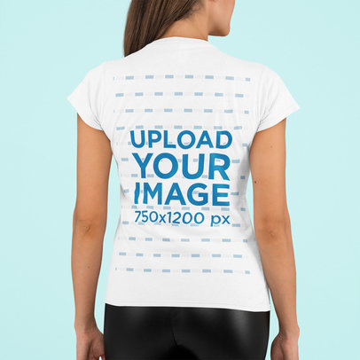 Back-View T-Shirt Mockup of a Woman Standing in a Studio m754