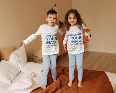 Long Sleeve Tee Mockups Featuring Two Siblings Jumping on a Bed 45604-r-el2