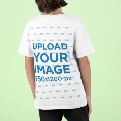 Back View Mockup Featuring a Kid with Long Hair Wearing a T-Shirt m860