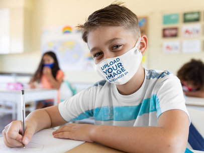Face Mask Mockup Featuring a Boy at School 45442-r-el2