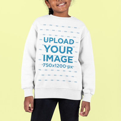 Sweatshirt Mockup Featuring a Smiling Girl at a Studio m895