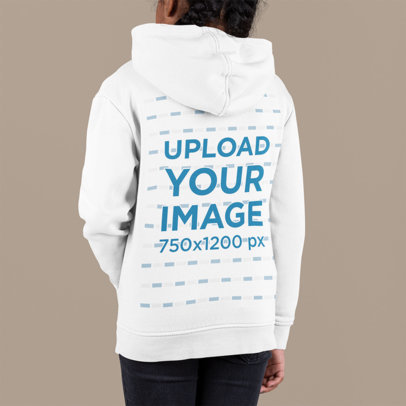 Back-View Mockup of a Girl Wearing a Pullover Hoodie at a Studio m894
