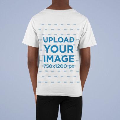 Back View T-shirt Mockup of a Kid at a Studio m857
