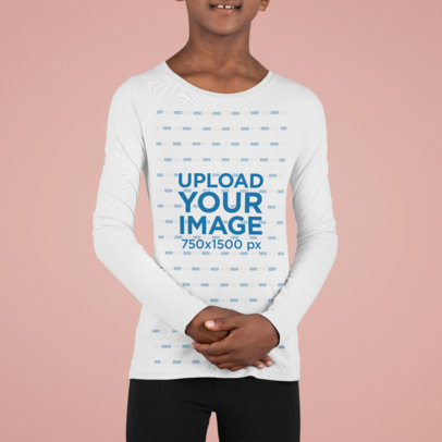 Mockup of a Kid Wearing a Long Sleeve Tee at a Studio M859