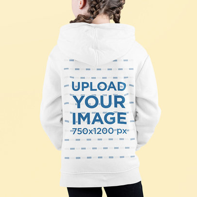 Back-View Hoodie Mockup Featuring a Girl Standing in a Studio m698