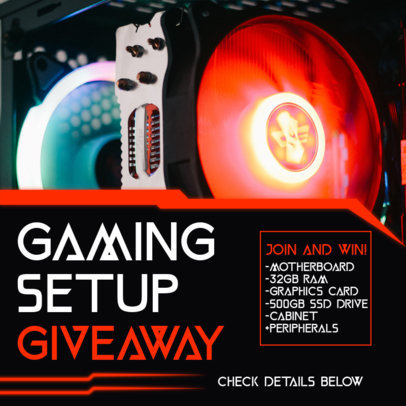 Instagram Post Template to Announce a Gaming Giveaway 3300-el1