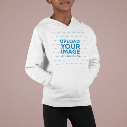 Mockup of a Little Boy Wearing a Pullover Hoodie m867