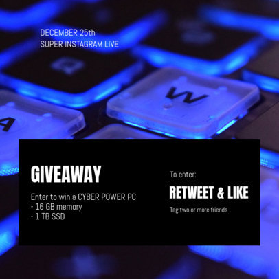 Gaming-Themed Instagram Post Template to Promote a Giveaway 3298a-el1