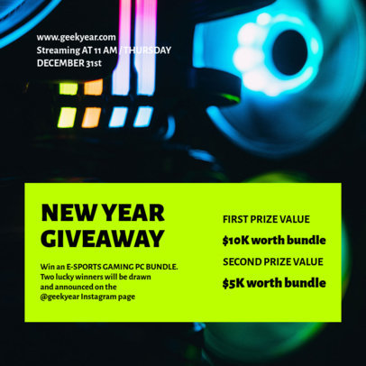 Instagram Post Maker for a New Year Giveaway of Gaming Equipment 3298b-el1