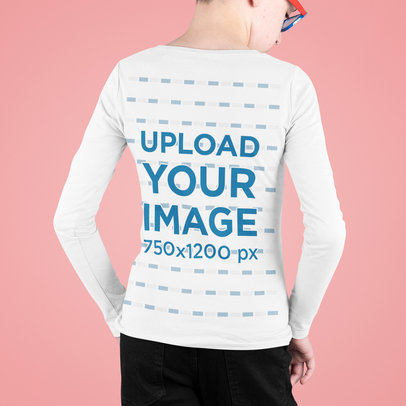 Back-View Mockup of a Kid Wearing a Long Sleeve Tee at a Studio m709