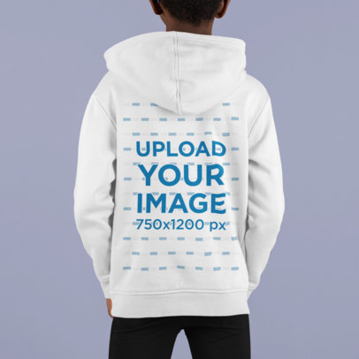Back View Mockup Featuring a Kid Posing with a Hoodie m872