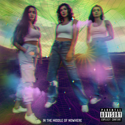 Pop Album Cover Template for a Girl Band with a Glitch Overlay 3258h