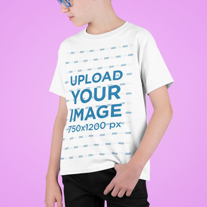 T-Shirt Mockup Featuring a Kid Posing Against a Colored Backdrop m711