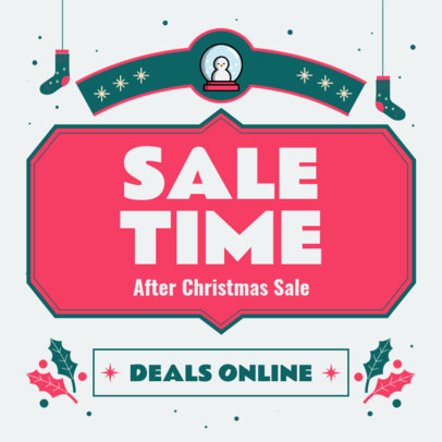 Instagram Post Generator Featuring a Sale Announcement and Xmas Graphics 3302c-el1